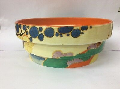 Clarice Cliff Fantasque Stepped Bowl Hand Painted Newport Pottery