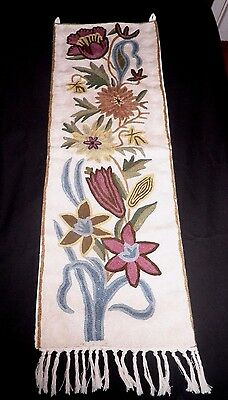 """SUPERB CREWEL WORK WALL HANGING / RUNNER - 32"""" by 12"""""""