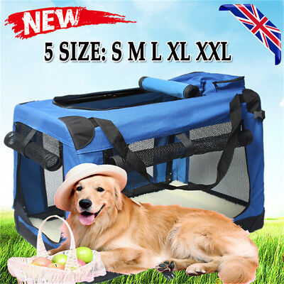 L/XL/XXL Fabric Soft Pet Crate Kennel Cage Carrier House Dog Cat Travel Bag Blue