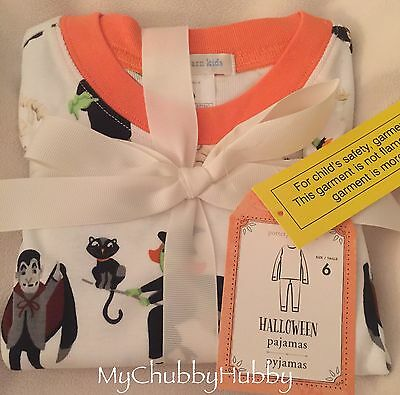 NWT Pottery Barn Kids ~HALLOWEEN~ Tight-Fit PAJAMAS (6) ~GHOST~ Matches Sheets