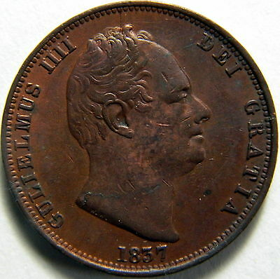Deceased Estate 1837 King William IV Copper Half Penny - High Grade