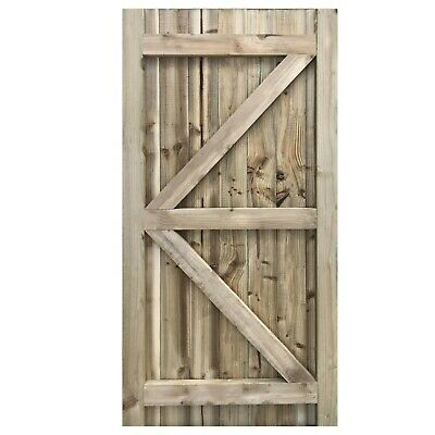 Ruby Featheredge Gate Wooden Garden Side Gate Kit Green Treated 1.8m x 0.9m
