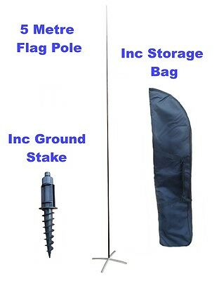 5m Feather Flag Pole with Base and Ground Stake. Inc Storage Bag.