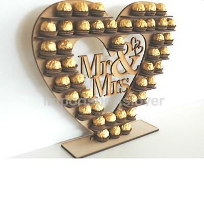 Wooden Mr & Mrs Heart Chocolate Display Tree Stand Wedding Centrepiece Decor