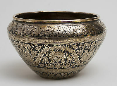 Antique Indian Brass and Enamel Engraved/Chased Large Bowl c1900