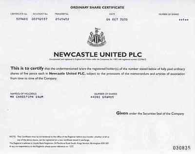 Newcastle United PLC Birmingham Fussball Christoph Daum 1 Share Oktober 2000
