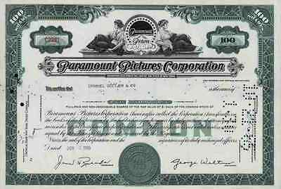 Paramount Pictures Hollywood Gulf Western VIACOM Lasky1965 Kalifornien 100 Share