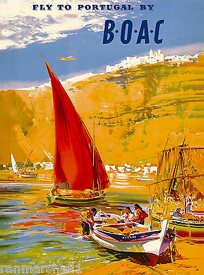 Fly to Portugal Portugese Spain Spanish Vintage Travel Advertisement Art Poster
