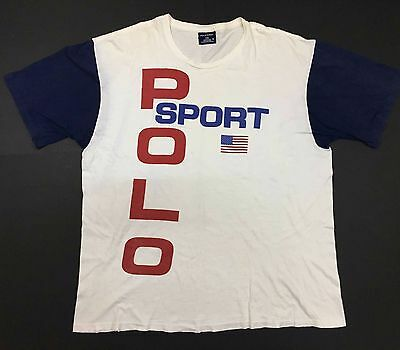 VINTAGE 90s POLO SPORT BIG SPELL OUT SIZE XL WHITE P WING STADIUM BEAR