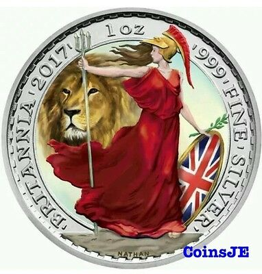 2017 Britannia Lion Colorised 1oz .999 Silver Coin,Box & Coa