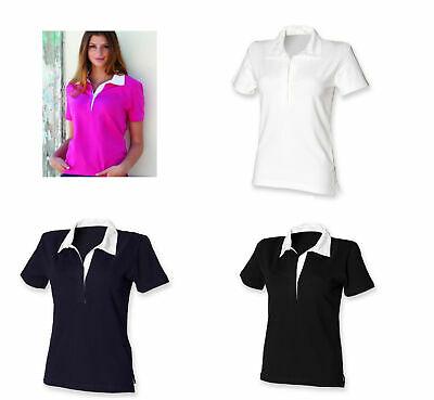 Front Row Ladies Stretch Short Sleeve Rugby T-Shirt Polo Top FR78