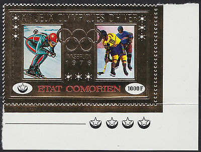 "COMORES PA N°103** Timbre ""or"" JO TB, 1976 Gold Stamp Olympics Comoro Islands NH"