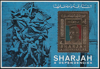1971 OR SHARJAH Bloc OR** De Gaulle NEUF TTB, SHARJAH gold stamp Sheet MNH