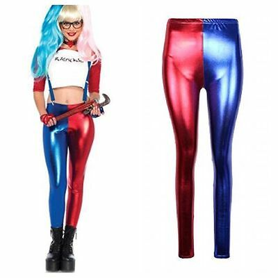 New Women's Ladies Harley Quinn Suicide Squad Harlequin Metallic Shiny Leggings