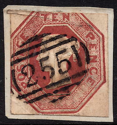 GB QV 1847 10d Brown SG57 Embossed Issue Good Used on Piece Cut Square