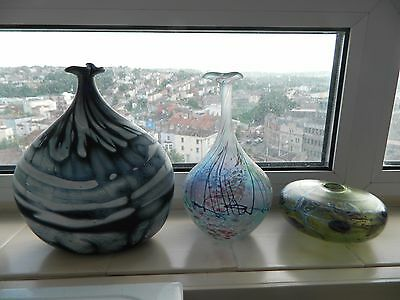 Peter Layton 3x Art glass vases 2 signed 1 not signed.
