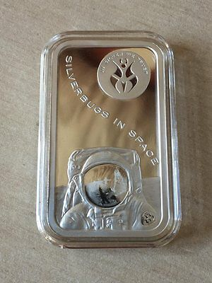 Silverbugs In Space To The Moon 1 oz Silver Art bar