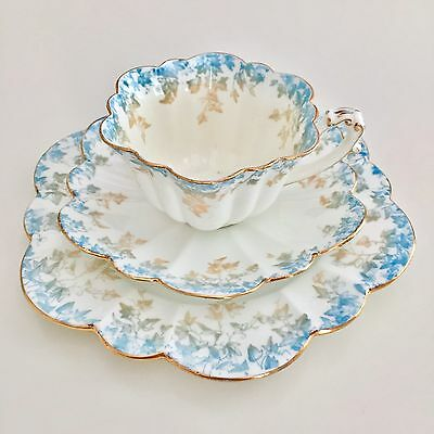 Wileman teacup trio, turquoise/beige Ivy Print on Empire shape, 1893,