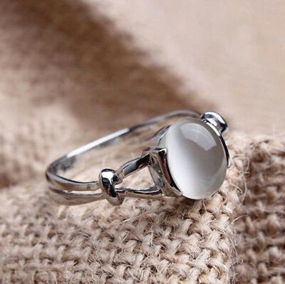 Promise Brand New Chic White Gold Plated Silver Plated Wedding Ring Moonstone