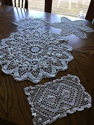 Four Hand Crocheted Doilies From Estate