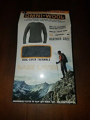NWT Mens OMNI WOOLGrey Long Sleeve Base Layer Crew Top Size Large L