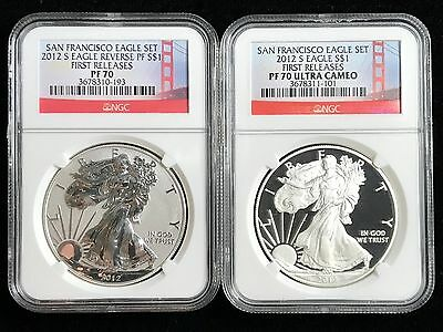 2012-S NGC PF70 Proof+Reverse Silver Eagle San Francisco 75th Set FIRST RELEASE