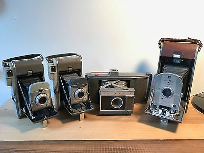 Lot of Vintage Polaroid Cameras Model 95 J66 80 80A with flashes