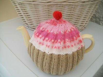 HAND KNITTED CUPCAKE TEA COSY MEDIUM TEAPOT (Fair Isle Pink/Orange)