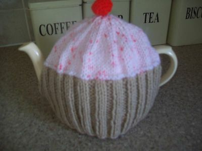 Hand knitted Cupcake  tea cosy medium teapot (Orange sprinklies)