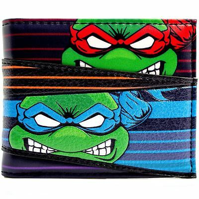 New Official Teenage Mutant Ninja Turtles Angry Team Faces Striped Bifold Wallet