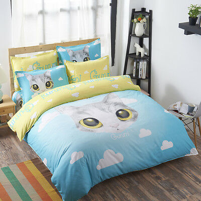 Cat Bedding Set Cover Bed Duvet Cover 4pcs Queen And Twin Bedclothes Comforter