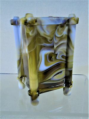 Antique Sowerby Style Amber And White Slag Glass Spill Vase Match Holder 19th C.