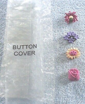 Set of 4 Floral Resin Button Covers NIP