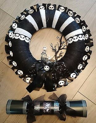 """Nightmare Before Christmas Jack And Zero Wreath With Free 14"""" Cracker"""