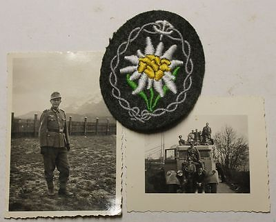 Orig. Rare Ww2 Wh Gj Mountain Troop Sleeve Edelweiss Patch + 2 Nice  Photo