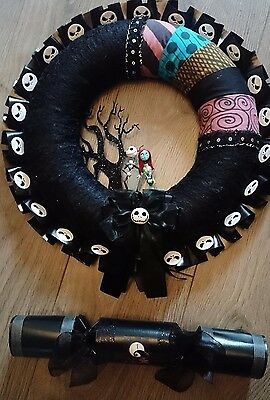 "Nightmare Before Christmas Jack And Sally Wreath With Free 14"" Xmas Cracker"
