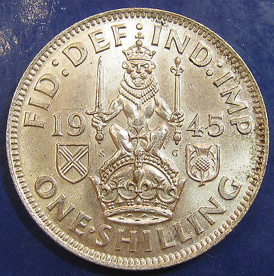 1945 1/- George VI Scottish Shilling in an extremely high grade
