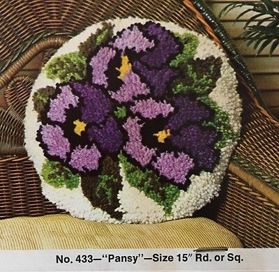 VTG Bucilla Latch Hook Pillow Canvas Pansy Round or Square 15 X 15 Inch 70's