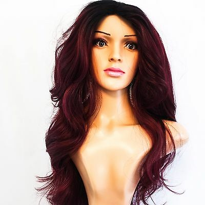 """Synthetic Long Dark Roots/Burgundy Wig 24"""""""