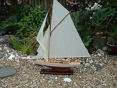 Large Model Lulworth Yacht 95cm On Stand Hand Made Wooden -maritime Ship Boat.