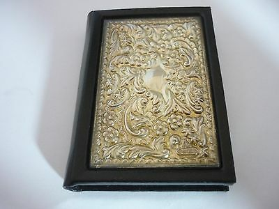 Stunning Vintage Sterling Silver & Fine Leather Birthday Book By Carrs Sheffield