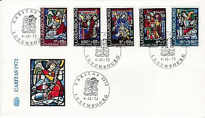 First day cover, Luxembourg, semipostals Scott #B287-B291, Caritas, 1972