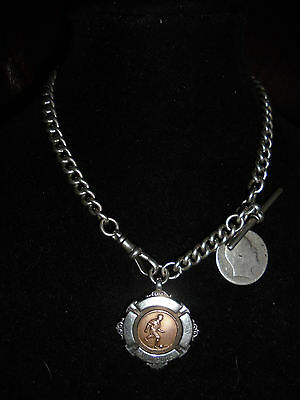 Antique Victorian Silver Albert Watch Chain T-Bar every link stamped Rose Gold F