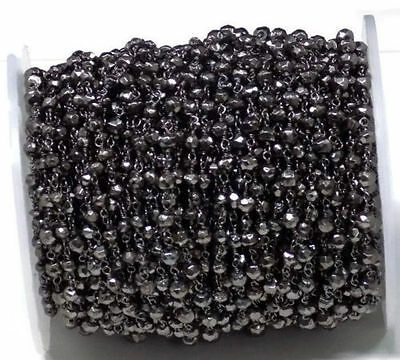 5 Feet Black Pyrite Faceted Rondelle 3-4mm Black Oxidized Rosary Beaded Chain