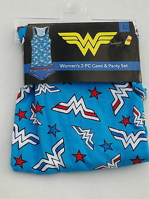 Wonder Woman womens Large Cami & panty set 2pc camisole tank blue new pajamas