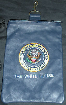 Leather Presidential Seal White House Accessory Bag Blue