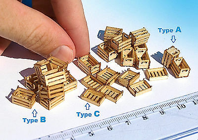 2 Miniature wood crates boxes laser cut HO OO scale model for diorama doll house