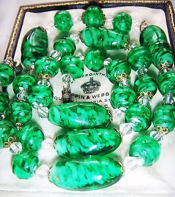 Vintage Art Deco Venetian Murano Sommerso Emerald Aventurine Sparkle Necklace