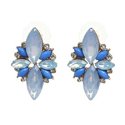 pendientes pluma strass cristal brillante azul fashion fiesta retro romantico