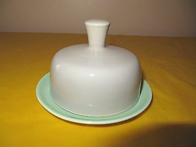 """VINTAGE BRANKSOME Grey&Green BUTTER DISH dia 4.75"""", used in VGC  (0.25/445)"""